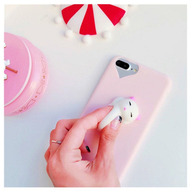 3D Cartoon Squishy Cat Pinch Poke Stress Relievers Case Cover For IPhone 6 6S 7 Plus 5 5S SE Silicone TPU Soft Phone Cases