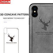 3D Concave Case For Iphone X 7 8 Plus Iphone 6 6S Deer Cute Pu Leather Cloth Case 360 Full Back Cover For Apple Iphone 10 6 S