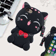 3D Fashion Cartoon Fortune Cat Phone Silicone Soft Case Cover For Samsung Galaxy S9 S9 S9 Plus S9plus Cases Gel Shell