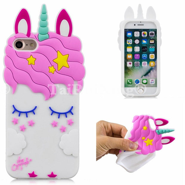 3D Fashion Cartoon Pink Unicorn Phone Silicone Soft Case Cover For Samsung Galaxy J7 2015 SM-J7 SM-J700H Cases Gel Shell