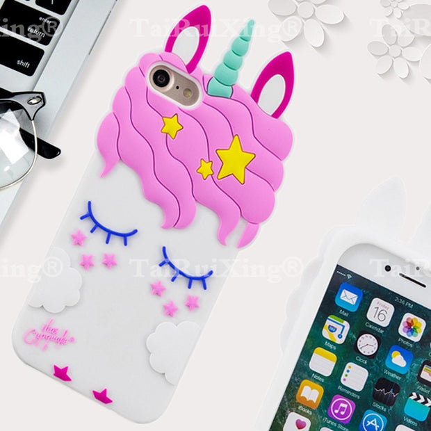 3D Fashion Cartoon Pink Unicorn Phone Silicone Soft Case Cover For Samsung Galaxy S6 S7 S 6 S 7 Cases Gel Shell