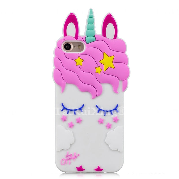 3D Fashion Cartoon Pink Unicorn Phone Silicone Soft Case Cover For Samsung Galaxy S8 Plus S 8 Plus Cases Gel Shell