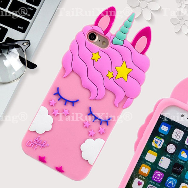 3D Fashion Cartoon Pink Unicorn Phone Silicone Soft Case Cover For Samsung Galaxy S9 Plus S 9 Plus S9plus Cases Gel Shell