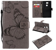3D Flip Leather Wallet Stand Phone Case For SONY Xperia L2 L1 E6 XZ XA Ultra C6 XA2 3D Butterfly Magnetic Cover W Card Slots