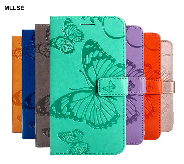 3D Flip Leather Wallet Stand Phone Case For SONY Xperia XZ2 / XZ2 Compact XZ2 Mini 3D Butterfly Magnetic Cover Funda W Card Slot