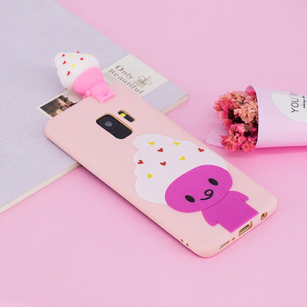 3D Unicorn Cat Ice Cream Cute Cartoon Soft Silicon Phone Case For Samsung Galaxy S9 S8 Plus Note 8 S7 S6 Edge A3 A7 2017 A5 2018