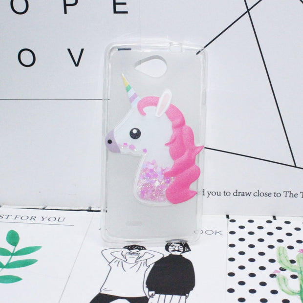 "3D Unicorn Quicksand Liquid Soft Silicone Case For ZTE Blade GF3 4.5""Cover Cartoon Diamond Funda Coque Capa"
