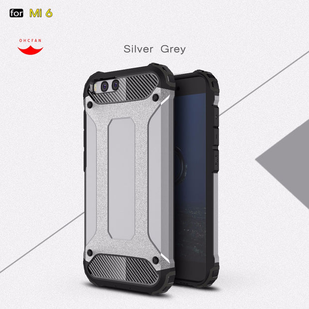 "5.15"" For Xiaomi Mi6 Mi 6 Phone Case Hard Diamond Armor Hybrid Protective Case 2in1 PC +TPU Shockproof Cover Case Xiaomi Mi6"