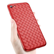 ALLCHW Heat Dissipation Woven Pattern Phone Case For Iphone X 6 Plus 7 Plus 8 8 Plus Cover Soft Tpu Silicon Red Cases