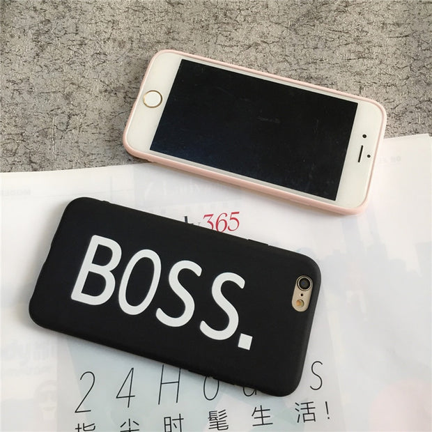ALLCHW Letters QUEEN & BOSS Couple Phone Case For Iphone X Case For Iphone 5S SE 6 6S 7 8 Plus Slim Soft Candy Color Back Cover