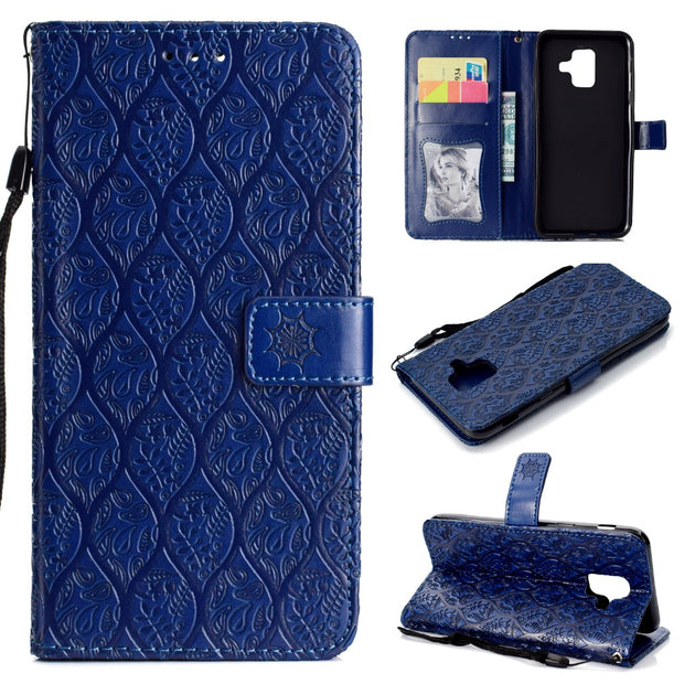 ASTUBIA For Samsung Galaxy A6 2018 Case Case Luxury Embossed Rattan Flower Wallet Flip Case For Samsung A6 Plus 2018 Case Cover