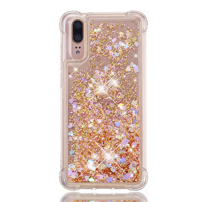 Luxury Bling Diamond Quicksand Case Soft Tpu Silicone Cover Hull Shell Coque Fundas For Huawei P20 Lite Nova 3e Rhinestone Cases