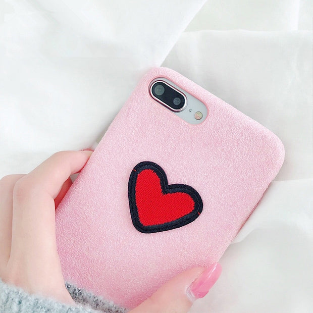 Aoweziic Flannelette Embroidery Red Love Case For IPhone6s 8Plus Hot Chic Case For IPhone X XS MAX XR 7 8Plus Capa Fundas Coque