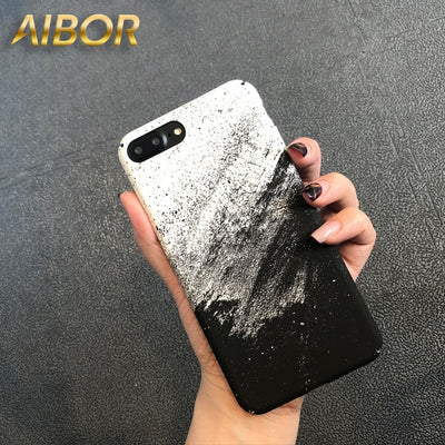 Art Black White Sand Painting Star Sky Sand Rendering Painting Hard Phone Case For IPhone X 6 6s 7 8 Plus Slim Case Capa Fundas