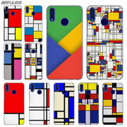 BINFUL Fashion Luxury Phone Cose Cover For Huawei Honor 7 7C 8 8X 9 Lite 10 4C 5X 6 6X 6C 7a Pro 7X Mondrian Art