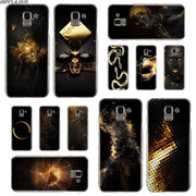 BINFUL Transparent Hard Case For Samsung J3 J4 J5 J6 J7 J8 2015 2016 2017 EU 2018 Prime Max Black Gold Pattern
