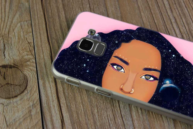 BINFUL Transparent Hard Case For Samsung J3 J4 J5 J6 J7 J8 2015 2016 2017 EU 2018 Prime Max Beauty Afro Puffs Black Girl