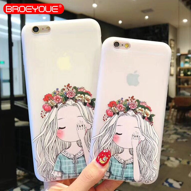 half off 2ec88 02a1a BROEYOUE 3D Relief Phone Case For IPhone 5 5S SE Clear Cute Girl Cases For  IPhone 5 5S SE Soft TPU Back Cover Case Fundas Capa