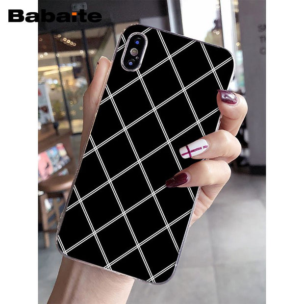 Babaite Black White Lattice Diy Printing Drawing Phone Case Cover Shel Charcoal Cases,Design Your Own Food Packaging