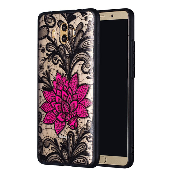 Black Sexy Lace Case For Huawei P9 Lite P20 Pro Red Rose Luxury Coque Cover For Huawei P20lite P10 Plus P10lite Cases Accessorie
