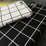 Black White Cubee Check Plaid Matte Hard PC Cover Capa Carcasa Coque Hoesje Funda For IPhone XR XS Max 8 7 6S Plus 5 5S SE Case