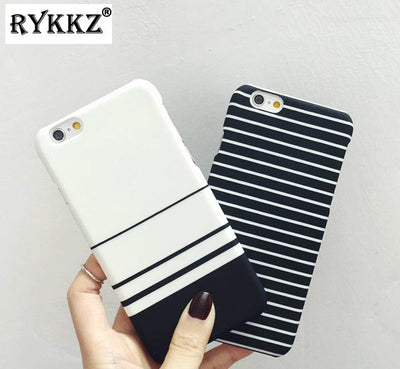 Black White Stripe Mixed Lovers Matte Hard PC Cover Capa Coque Hoesje Funda For IPhone 5 5S SE 6 6S 7 8 Plus X XS Max XR Case