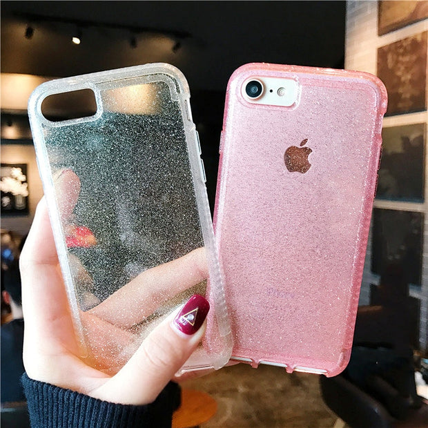 Bling Glitter Shockproof Case For Iphone X XR XS XS Max Hybrid Hard Back Cover For Iphone 6 6s 7 8 Plus Protecitve Shell