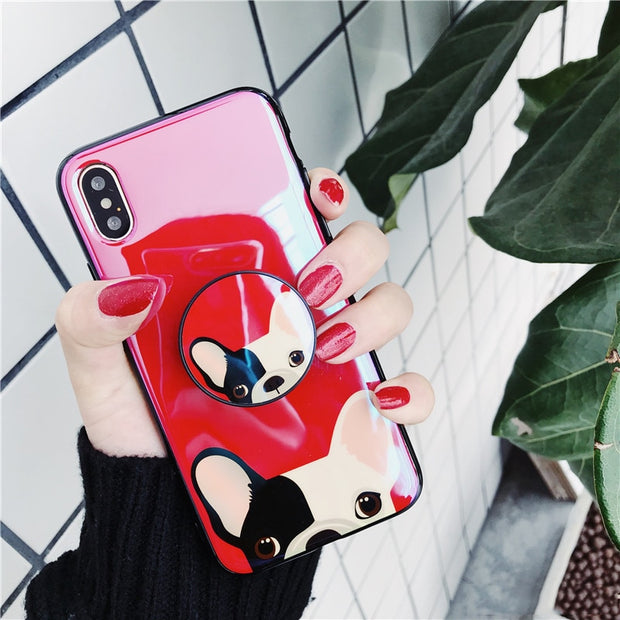 Blu Ray Bulldog Tpu Case For Iphone XS Max X XR XS 6 6s 7 8 Plus Ring Air Bag Grip Case Expanding Stand Holder Case