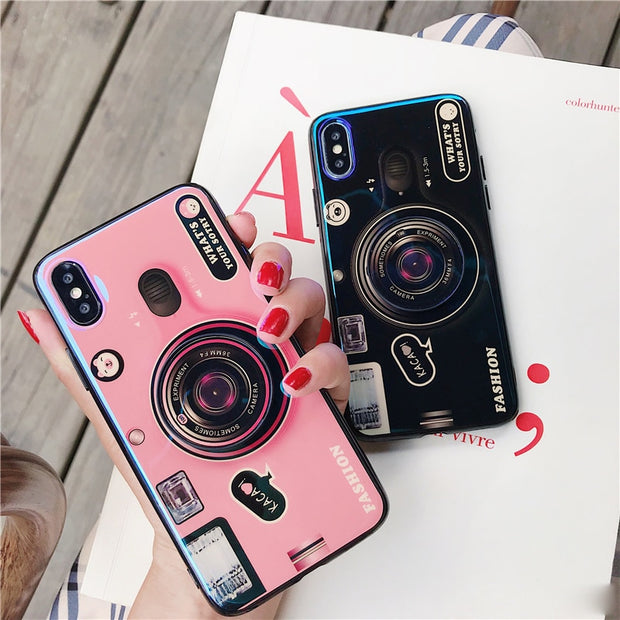 Blue Ray Ring Air Bag Stand Holder Vintage Camera Case For Iphone X 6 7 8 Plus Huawei P20 Samsung S8 9 Expanding Stand Grip Case