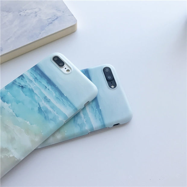 Blue Waves Beach Painted TPU Case For Iphone 7 7Plus IMD TPU Case For Iphone X 6 6s 6plus 6splus 8 8plus Back Cover
