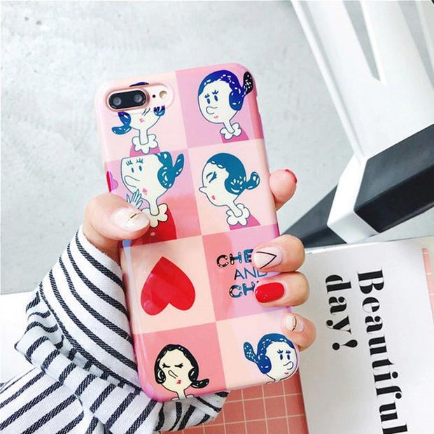 Blue-ray Pink Girl Phone Case For IPhoneX 7 8 6 6S Plus Cute Love Heart Cartoon Back Cover For IPhone X 6Plus 7Plus 8Plus Coque