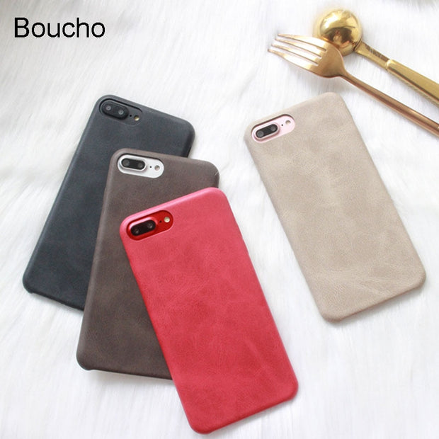 Boucho Fashion Retro Soft Phone Case For Iphone X Case For Iphone 6s 6 7 8 Plus Cases Solid Color Back Cover Classic Case Coque