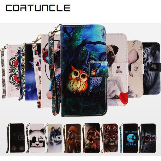 COATUNCLE Phone Case For Coque Apple IPhone 7 Case For Coque IPhone 7plus Cover Dog Owl, Flower Wallet Flip Cover Leather Case