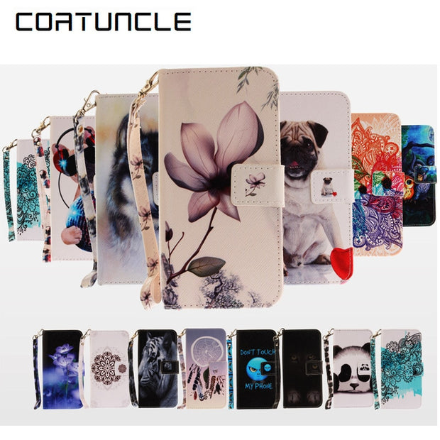 COATUNCLE Phone Case For Coque Huawei P10 Lite Case For Coque Huawei P10 Lite Cover Owl Flowe Wallet Flip Cover Leather Case