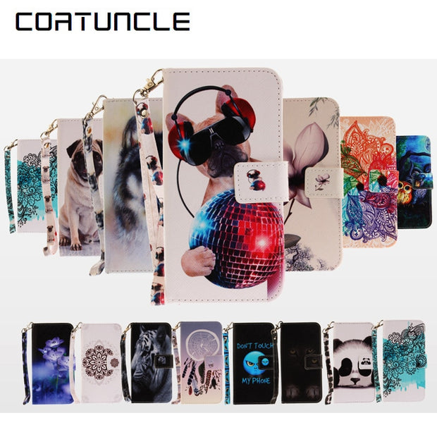 COATUNCLE Phone Case For Coque Huawei P8 Lite Case For Coque Huawei P8 Lite Cover Dog Owl, Flower Wallet Flip Cover Leather Case
