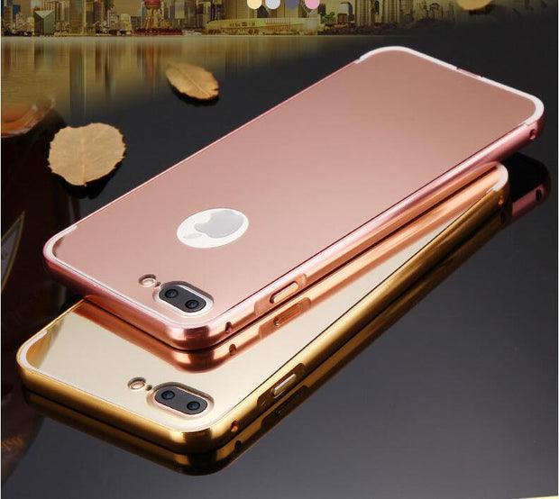 CRorange Slim For IPhone 7 Case Luxury Hybrid Aluminum Metal Bumper Frame Mirror Back Cover For IPhone 7 Plus