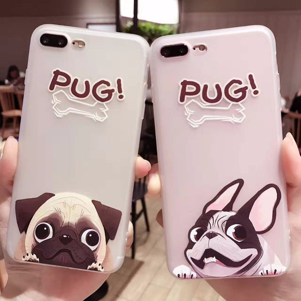 Cartoon Cute Dog Phone Cases For IPhone 7 6S 6 Plus Case 7Plus Lovely Pug Soft Back Cover For IPhone7 Fashion Transparent Coque