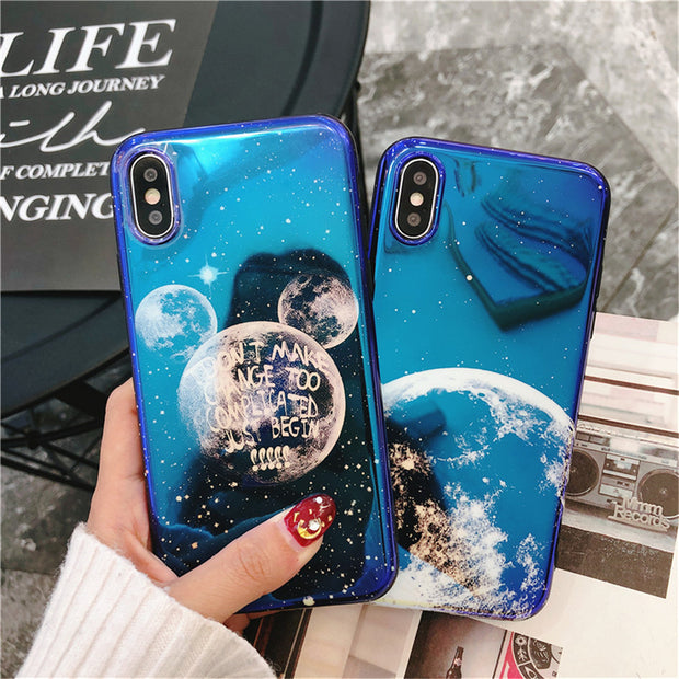 c243955fc82ed1 Cartoon Mickey Mouse Blue Light Soft Phone Cover For IPhone 7 8 6 6s Plus  Moon