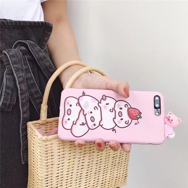 Cartoon Pink 3D Pig Phone Case For For IPhone 6 6S 7 8 Plus X XR XS MAX Cute Animal Frosted Soft TPU Back Cover Case Capa