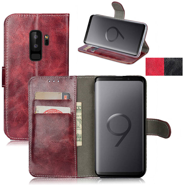 Case For Galaxy S9 Plus Vintage Wax Leather Wallet Flip Case With Card Holder Back Stand Phone Cover For Samsung Galaxy S9+ Plus