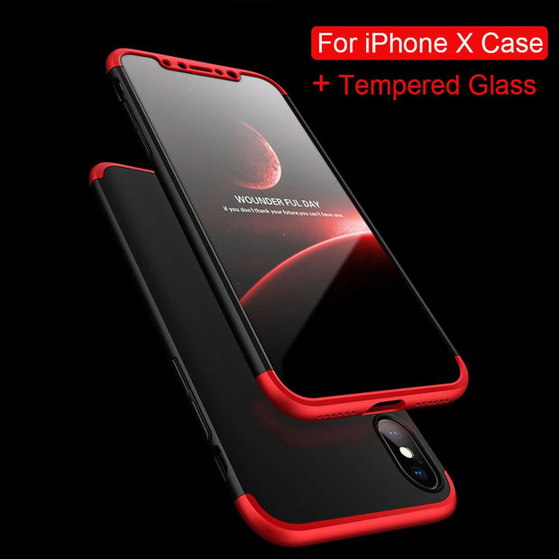 Case For Iphone X Luxury 360 Degree Protective Case Cover For Apple IPhone XS 10 Phone Case PC Back Coque Shell Hard Anti-knock