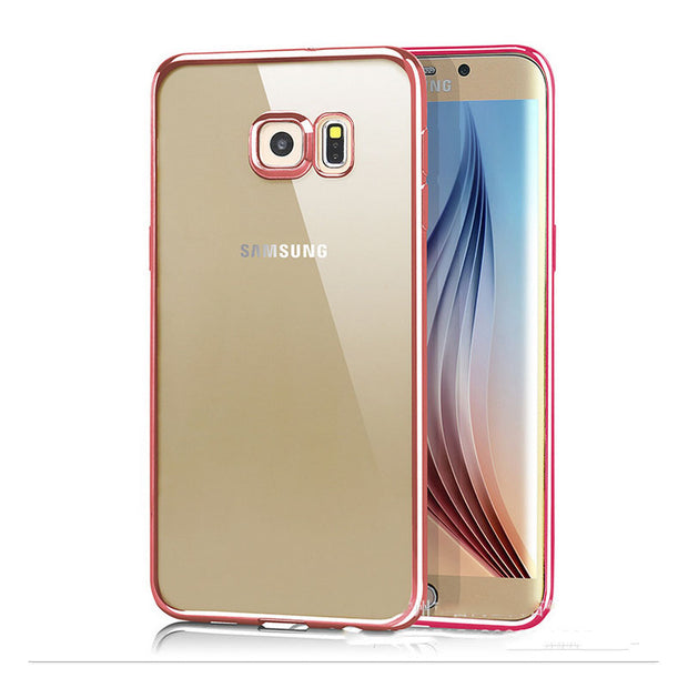 Clear Rose Gold Plating Case For Samsung Galaxy S7 S7 Edge Transparent Rubber Silicon Soft Electroplating Case For Girls Capinha