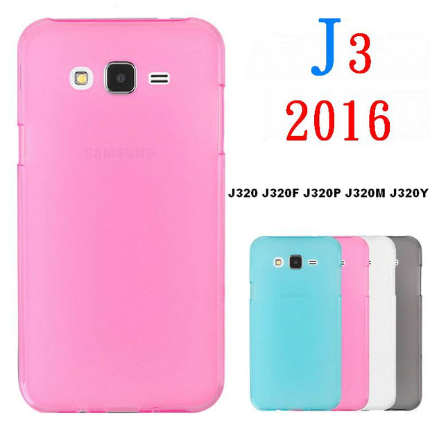 Color Matte Soft TPU Case For Samsung Galaxy J3 2016 Case Silicone Cover + Tempered Glass For Samsung J3 2016 J320F J320H J320FN