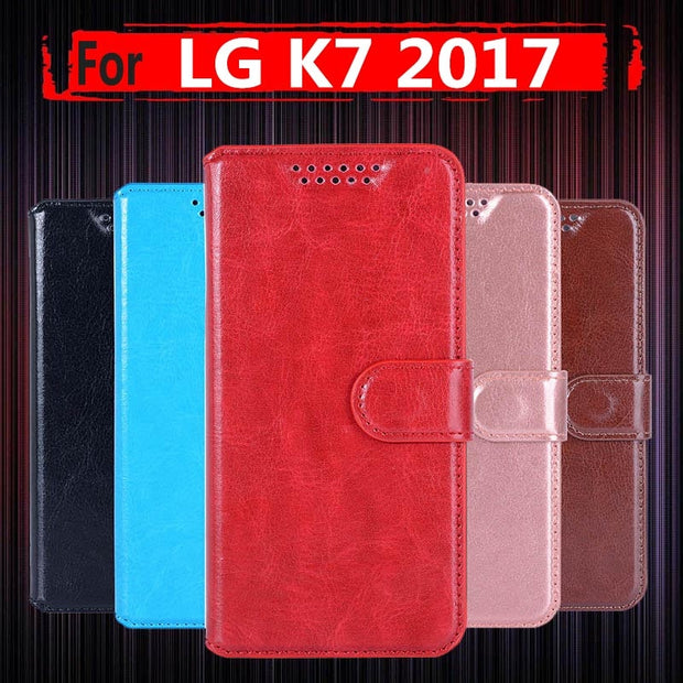 best service a9fd5 b8532 Coque Flip Case For For LG K7 2017 Case Cover 5.0 PU Leather Wallet Phone  Case For LG K7 2017 X230 K 7 LGX230 Case Flip Bag