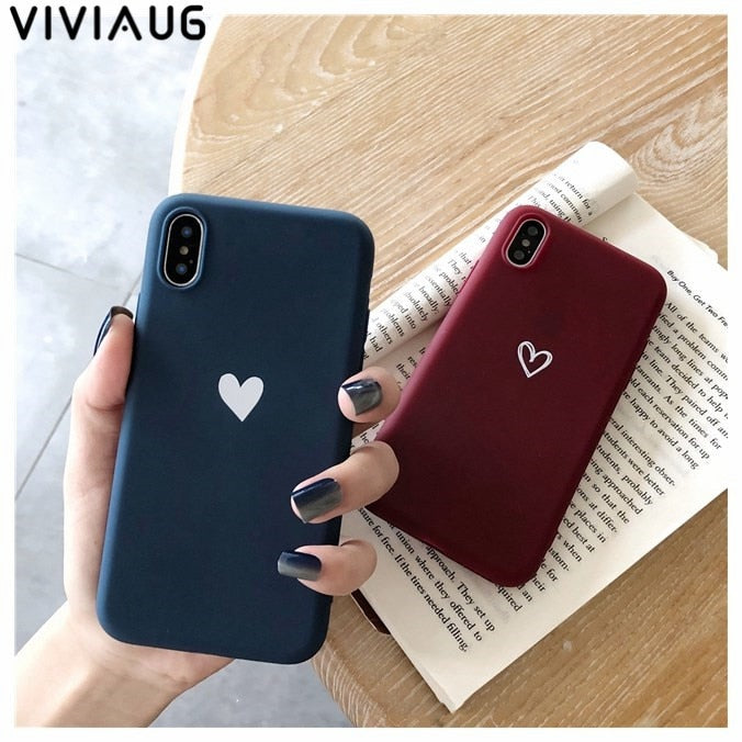 47bd513636249 Couples Love Heart Soft TPU Phone Case For Iphone 7 Plus 6 6S 7 8 Cute
