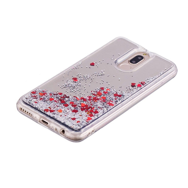 Cover For Huawei Mate 10 Lite Case Quicksand Flash Glitter Powder Mirror Hard Mobile Phone Cases Covers