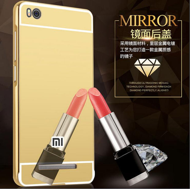 Cover For Xiaomi Redmi 4A Case Mirror Aluminum Metal Bumper + Acrylic PC Back Case For Xiaomi Redmi 4A 4 A Cover Phone Cases