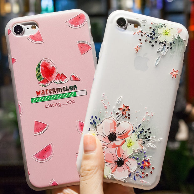 Covers For Iphone 7 Case Silicone Fundas For Iphone 6 S 8 7 Plus X 5s Se Phone Cases Cover 3D Patterns Fruit Floral Cute