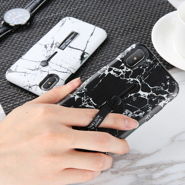 Creative Finger Ring Kickstand Phone Case For IPhone X 10 8 7 6S 6 Plus Cover PC + TPU Marble Pattern Case For IPhone 5 5S SE X
