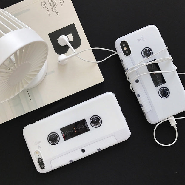 Creative Soft TPU Phone Case For IPhone 7 8 6 Plus White Tape Cute Case For IPhone X 10 6S Ultra Slim Back Cover For Smartphohe